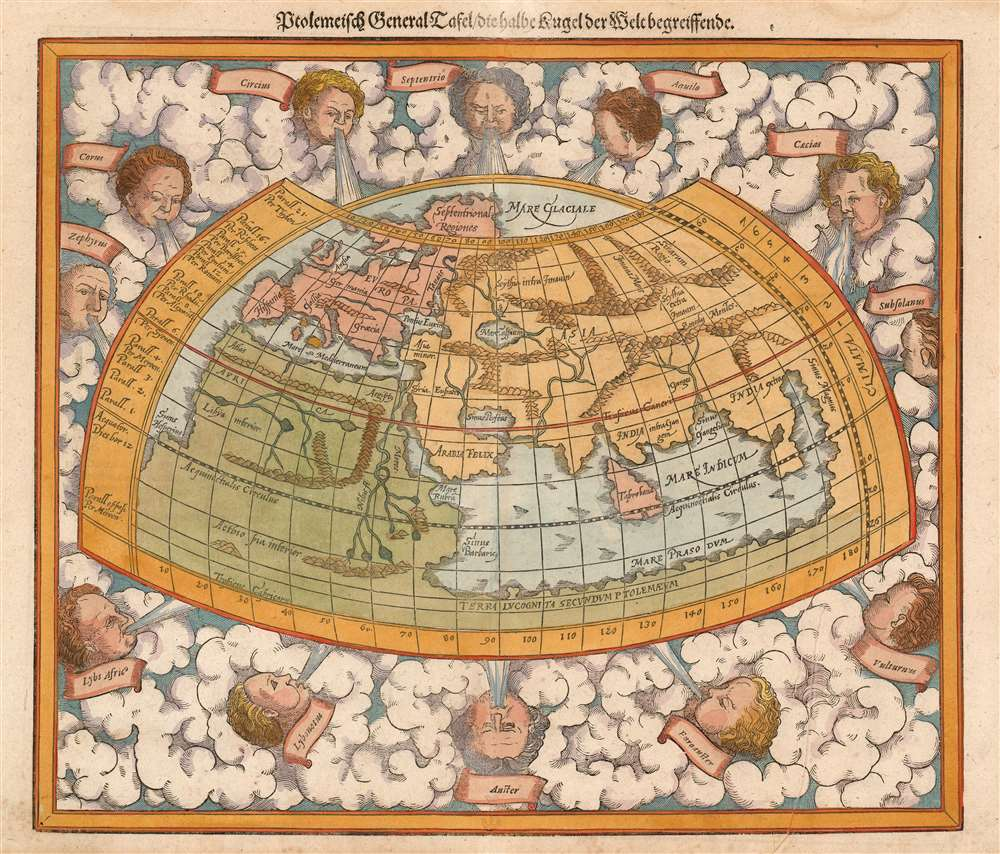 Die erst General Tafel... Ptolemeisch General Tafel... Europa... Asia... Africa... Die newen Inseln. - Alternate View 2