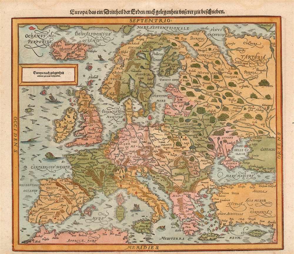 Die erst General Tafel... Ptolemeisch General Tafel... Europa... Asia... Africa... Die newen Inseln. - Alternate View 3