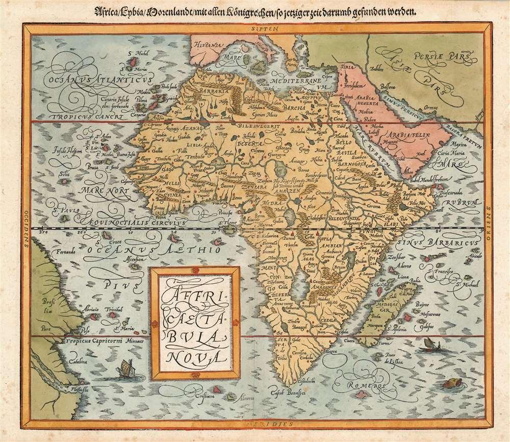 Die erst General Tafel... Ptolemeisch General Tafel... Europa... Asia... Africa... Die newen Inseln. - Alternate View 5