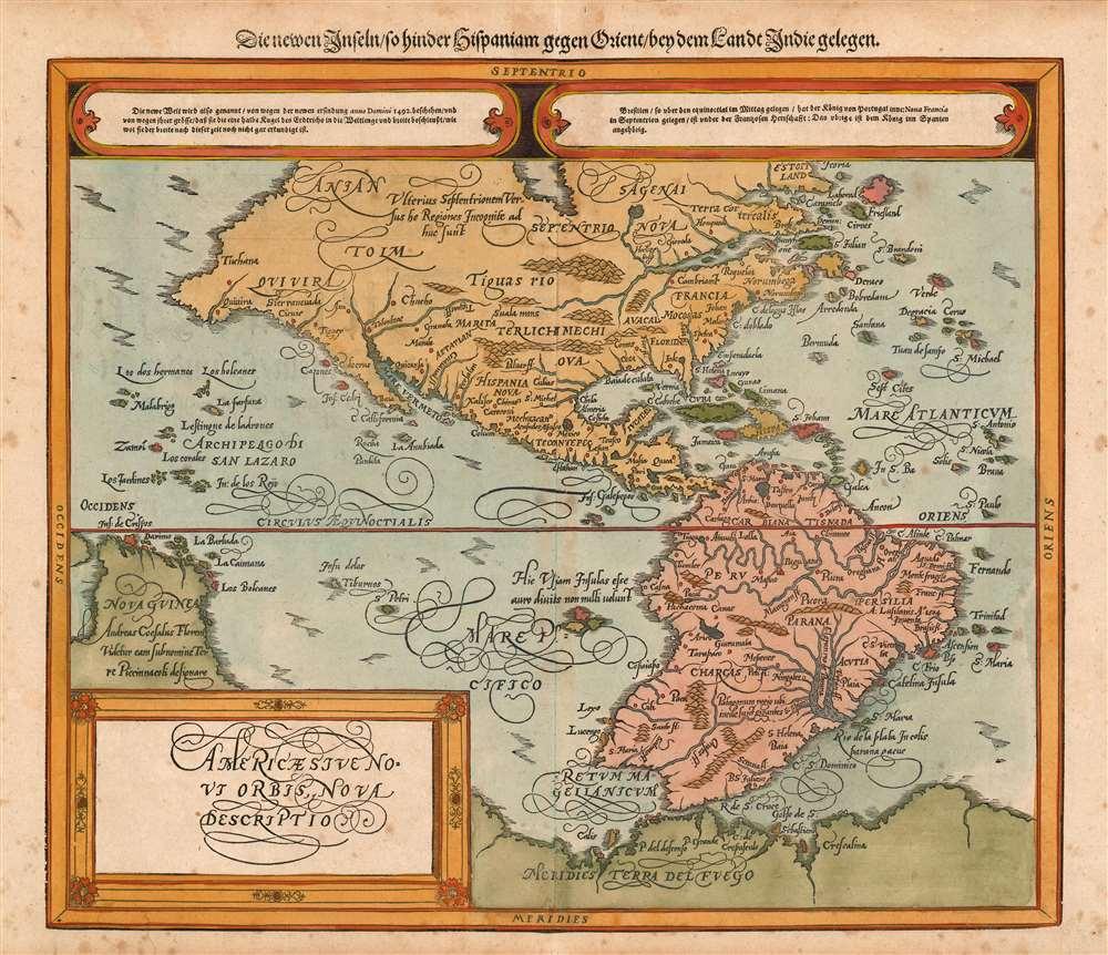 Die erst General Tafel... Ptolemeisch General Tafel... Europa... Asia... Africa... Die newen Inseln. - Alternate View 6