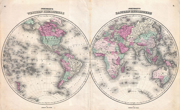 Johnson's Western Hemisphere. / Johnson's Eastern Hemisphere.