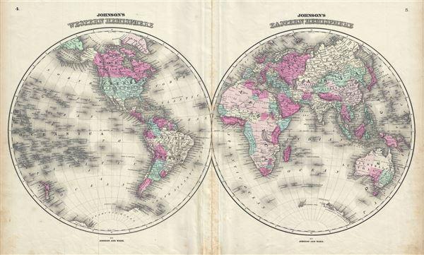 Johnson's Western Hemisphere.  Johnson's Eastern Hemisphere. - Main View