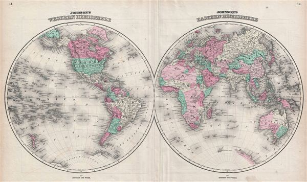 Johnson's Western Hemisphere. / Johnson's Eastern Hemisphere. - Main View