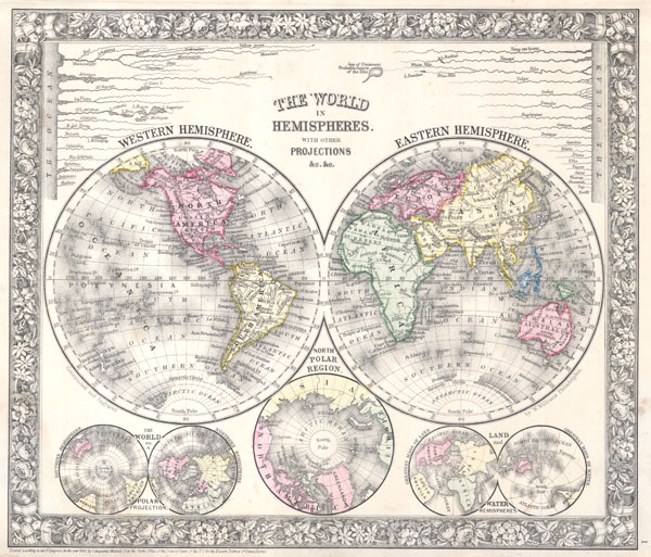 The World in Hemispheres, with other Projections &c. &c.