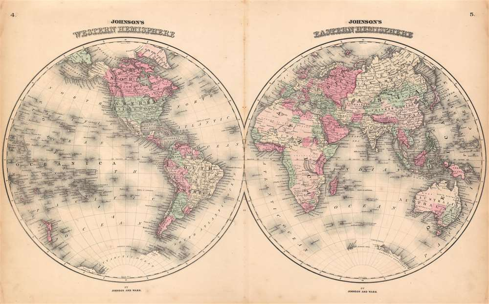Johnson's Western Hemisphere.  Johnson's Eastern Hemisphere.