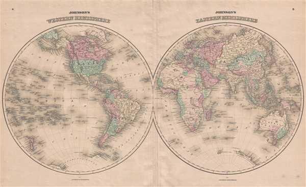 Johnson's Western Hemisphere. / Johnson's Eastern Hemisphere.