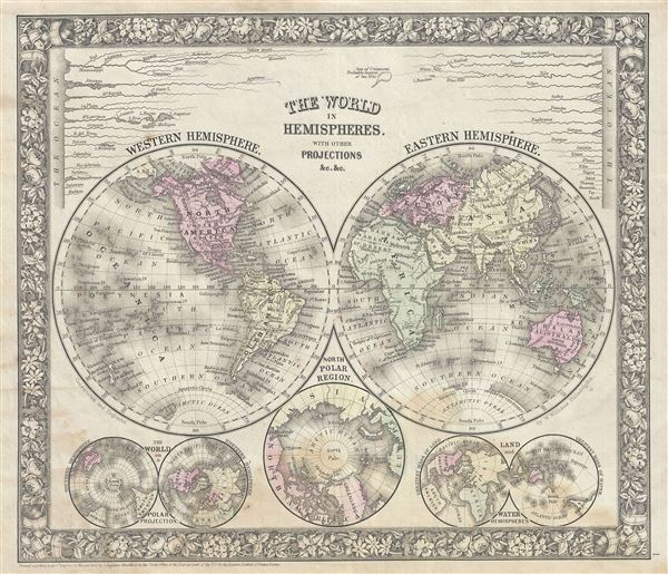 The World in Hemispheres. With Other Projections etc. etc. - Main View