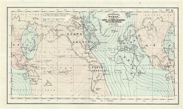Johnson's World, Showing the Lines of Equal Magnetic Declination.