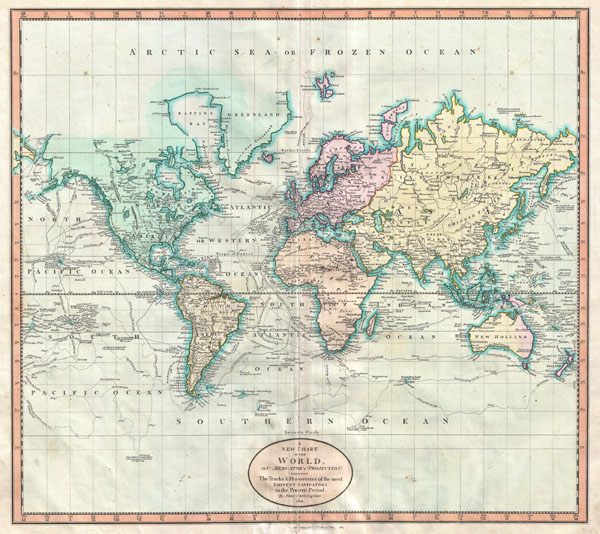 A New Chart of  the World, on Mercator's Projection: Exhibiting the Track & Discoveries of themost Eminent Navigators, to the Present Period.