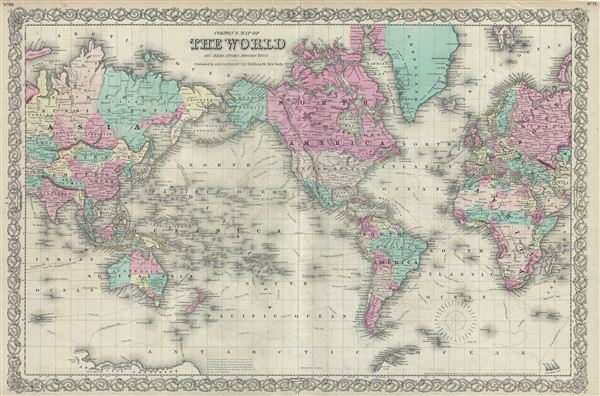 Colton's Map of The World on Mercator's Projection. - Main View