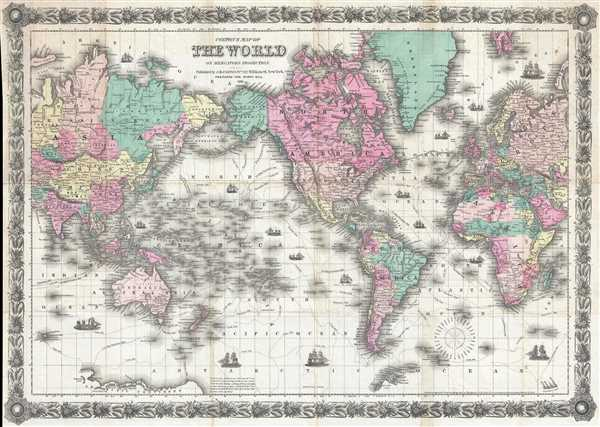 Colton's Map of the World on Mercator's Projection.