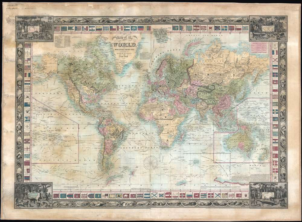 1845 Ensign Map of the World with the Republic of Texas