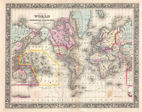 1861 Mitchell Map of the World on Mercator Projection