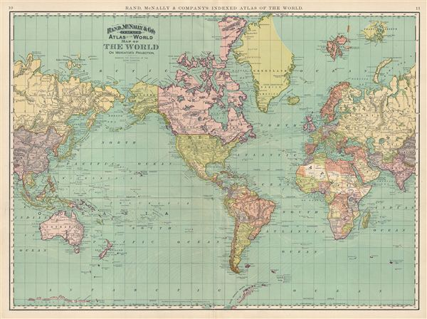 Map of The World on Mercator's Projection.  Showing the Direction of the Ocean Currents.