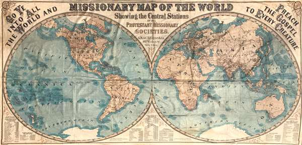 Missionary map of the world showing the central stations of all Protestant missionary societies.
