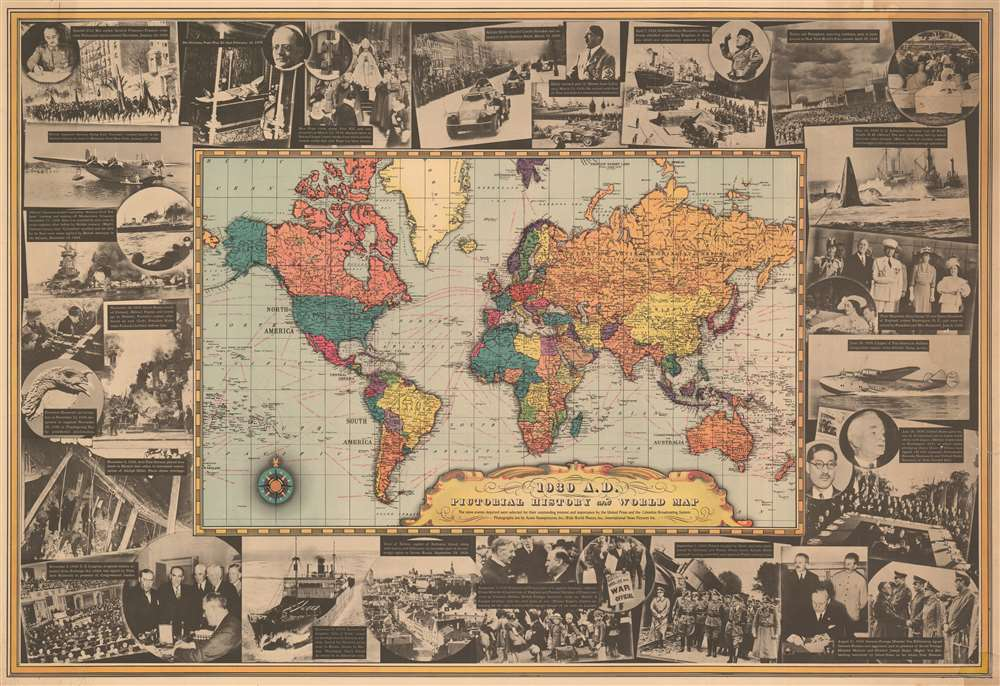 1939 A. D. Pictorial History and World Map. - Main View