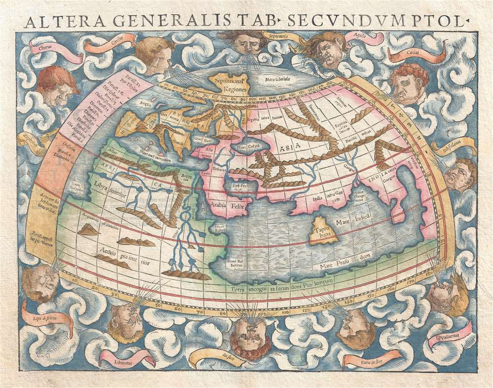 1550 Munster Map of the World According to Ptolemy