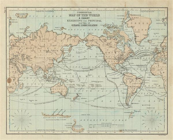 Commercial Map of the World A Chart Exhibiting the Principal Routes of Oceanic Communication. - Main View