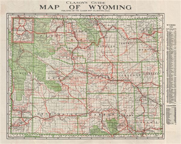 Clason's Guide Map of Wyoming. - Main View