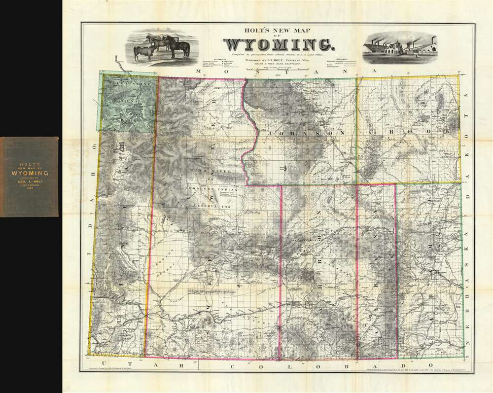 1884 Holt Map of Wyoming Territory - finest commercial map of Wyoming