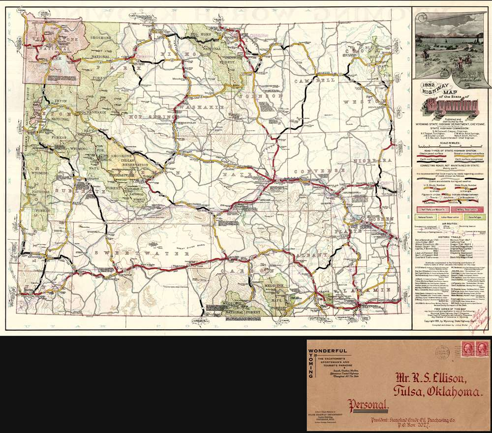 1932 Highway Map of the State of Wyoming.: Geographicus Rare ... on american of colorado, satellite map of colorado, cities of colorado, colorado department of transportation, home of colorado, castle rock, atlas of colorado, map of northern colorado, lincoln county, large map of colorado, highway 40 colorado map, city map of colorado, online map of colorado, colorado counties, map of eastern colorado, colorado state map colorado, transportation maps of colorado, black and white map of colorado, highway 7 colorado map, simple road map of colorado, interactive map of colorado, steamboat springs, highway 550 colorado map, county map of colorado, byway map of colorado,