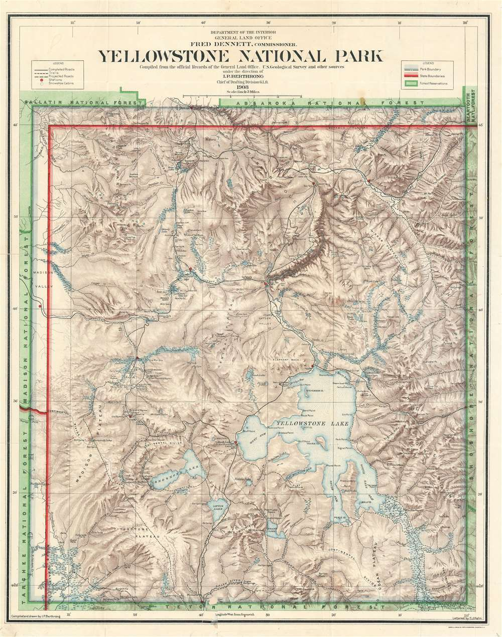 Yellowstone National Park Compiled from the official Records of the General Land Office, U.S. Geological Survey and other sources under the direction of I.P. Berhrong Chief of Drafting Division G. L. O. 1908.