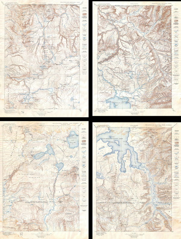 Yellowstone National Park, Gallatin Sheet. / Yellowstone National Park - Wyoming, Lake Sheet / Yellowstone National Park - Wyoming, Shoshone Sheet. / Yellowstone National Park, Canyon Sheet.