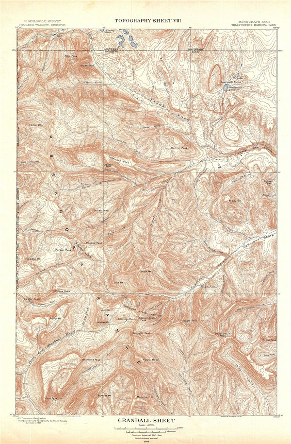 Yellowstone National Park Topographic Map.Crandall Sheet Topography Sheet Viii Geographicus Rare Antique Maps