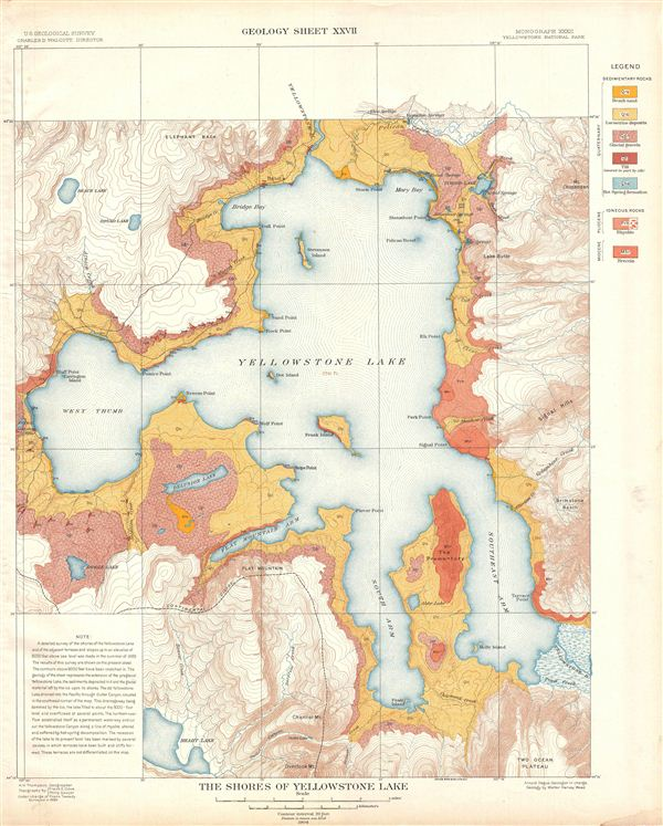 The Shores of Yellowstone Lake.  Geology Sheet XXVII. - Main View