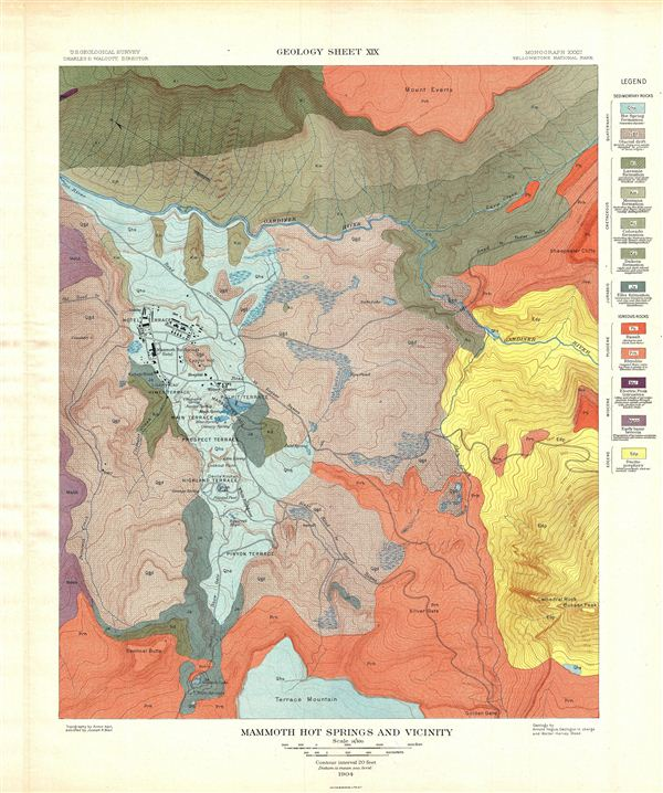 Mammoth Hot Springs and Vicinity.  Geology Sheet XIX.