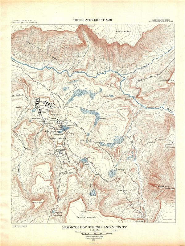 Mammoth Hot Springs and Vicinity.  Topography Sheet XVIII. - Main View