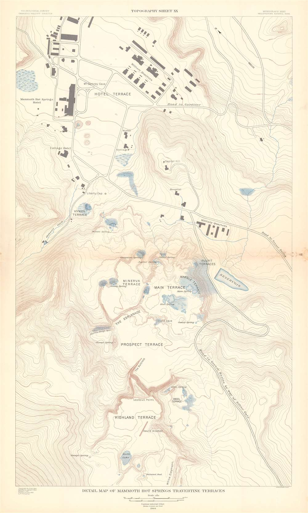 Detail Map of Mammoth Hot Springs Travertine Terraces. Topography Sheet XX. - Main View