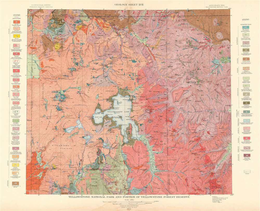 Yellowstone National Park and Portion of Yellowstone Forest Reserve.  Geology Sheet XVII. - Main View