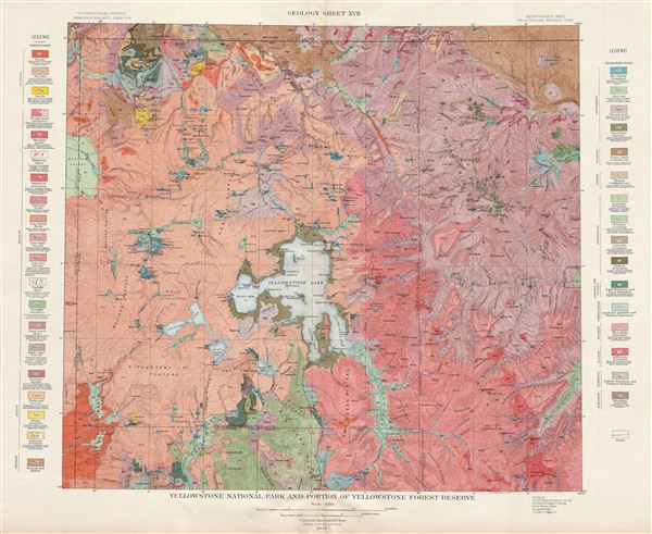 Yellowstone National Park and Portion of Yellowstone Forest Reserve.  Geology Sheet XVII.