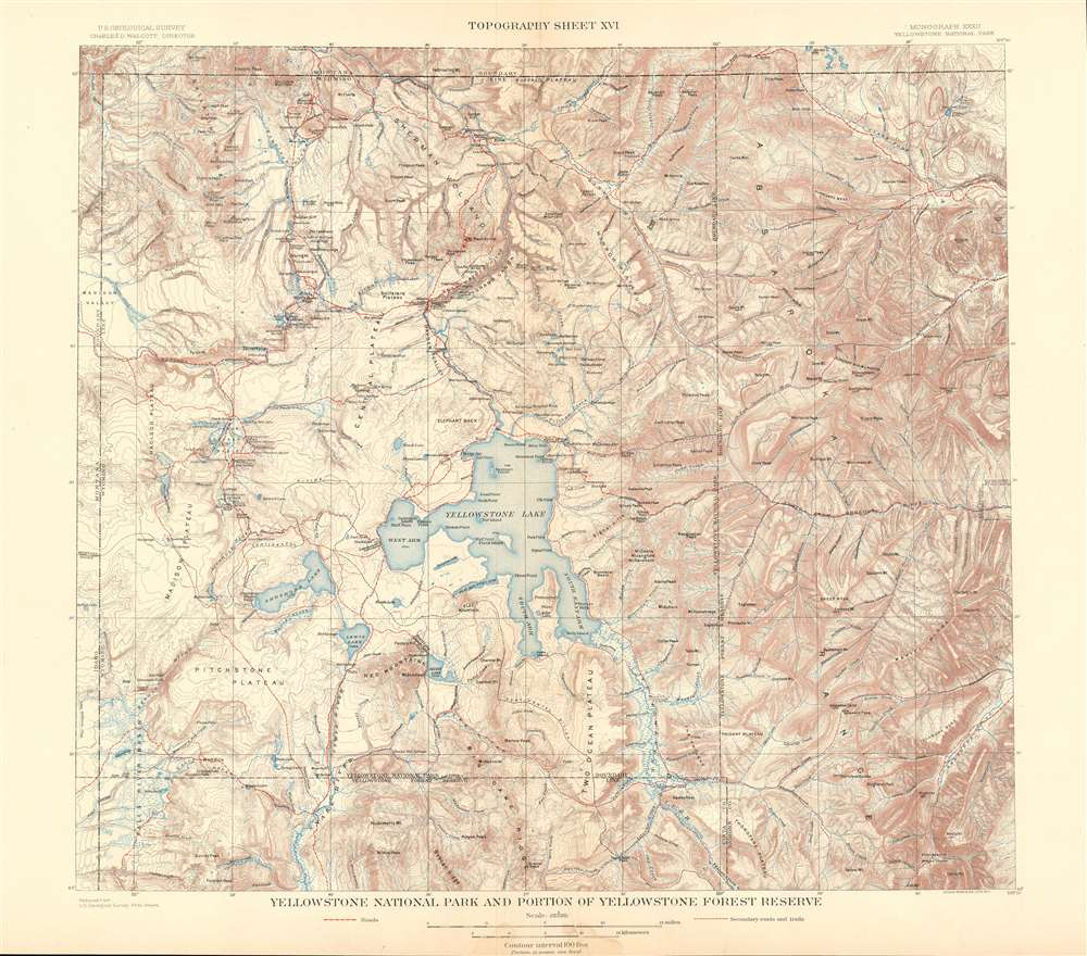 Yellowstone National Park and Portion of Yellowstone Forest Reserve.  Topography Sheet XVI. - Main View