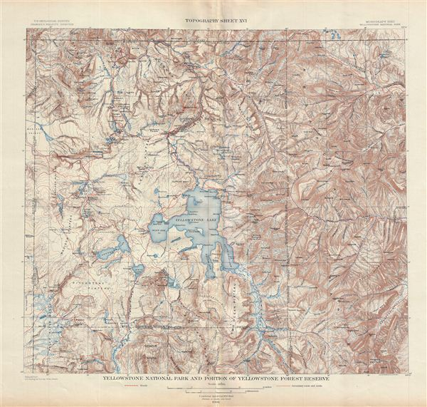 Yellowstone National Park and Portion of Yellowstone Forest Reserve.  Topography Sheet XVI.