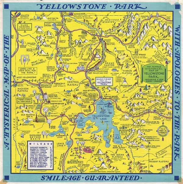 A Hysterical Map of the Yellowstone Park with Apologies to ...