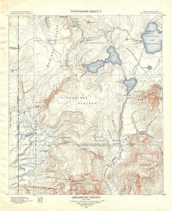 Shoshone Sheet.  Topography Sheet V.