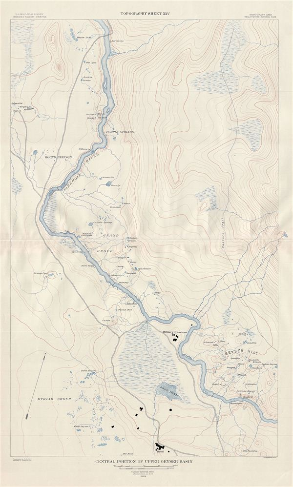 Central Posrtion of Upper Geyser Basin.  Topography Sheet XXV.