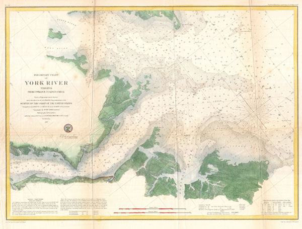 Preliminary Chart of York River Virginia from Entrance to Kings Creek.