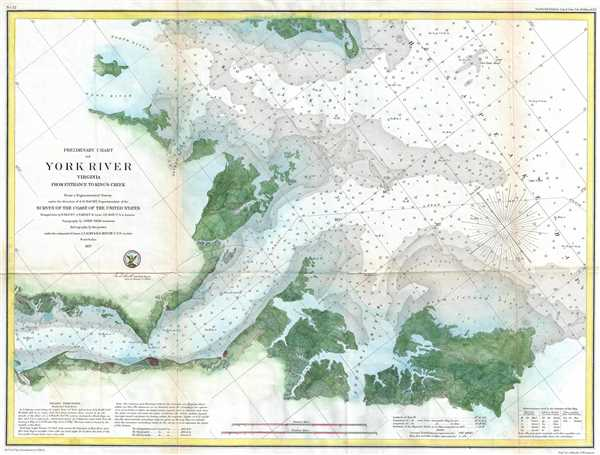 Preliminary Chart of York River Virginia from Entrance to King's Creek. - Main View