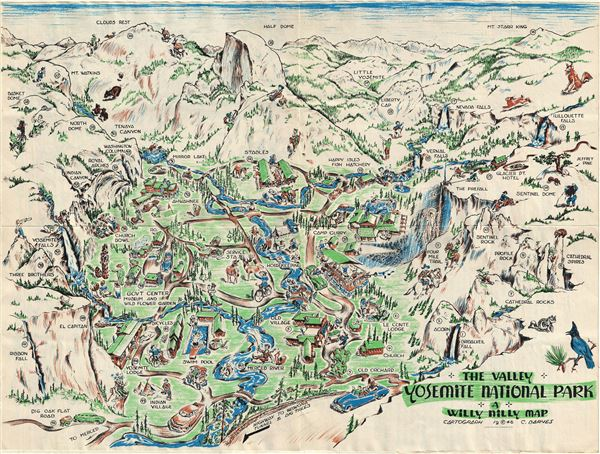 The Valley. Yosemite National Park. A Willy Nilly Map.: Geographicus ...