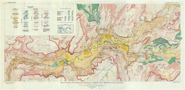 Map of Glacial and Postglacial Deposits in Yosemite Valley, Mariposa County, California.