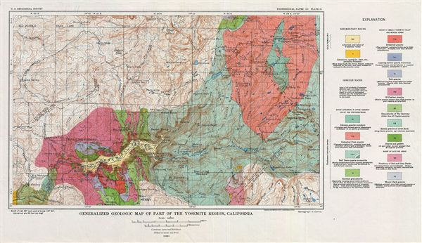 Generalized Geologic Map of Part of the Yosemite Region, California. - Main View