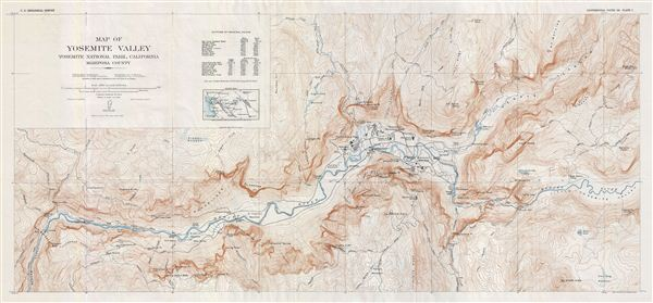 Map of Yosemite Valley Yosemite National Park, California Mariposa County.