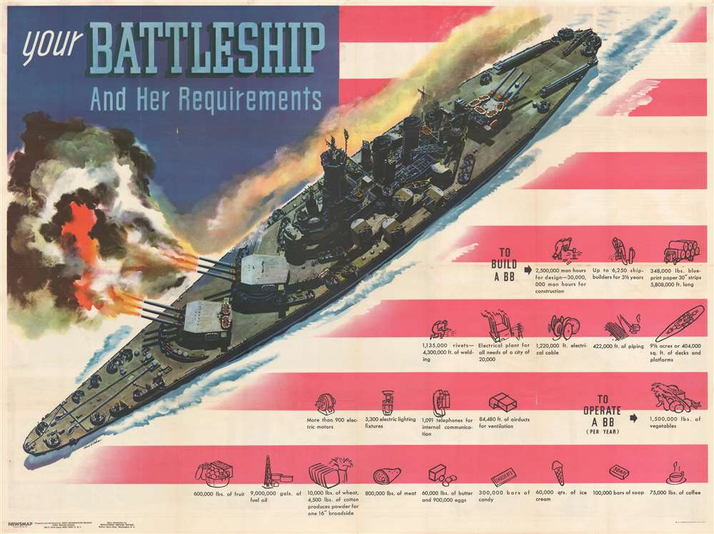 Your Battleship And Her Requirements. / NEWSMAP for the Armed Forces. Monday, May 22, 1944. 245th Week of the war - 127th Week of U.S. Participation. - Main View