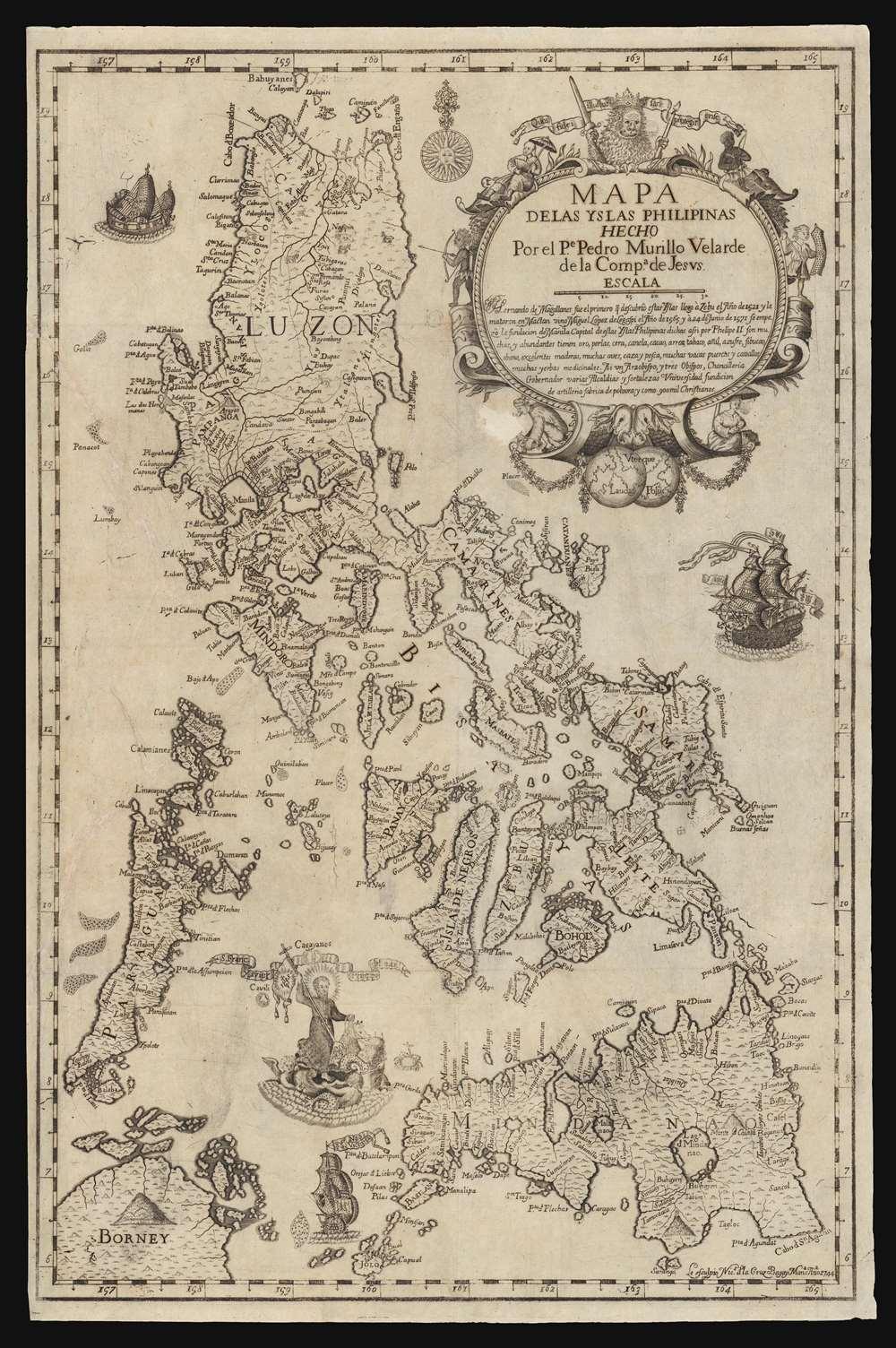 Mapa de Las Yslas Philipinas Hecho Por el Pe. Pedro Murillo Velarde de Compa. de Jesus. - Alternate View 1