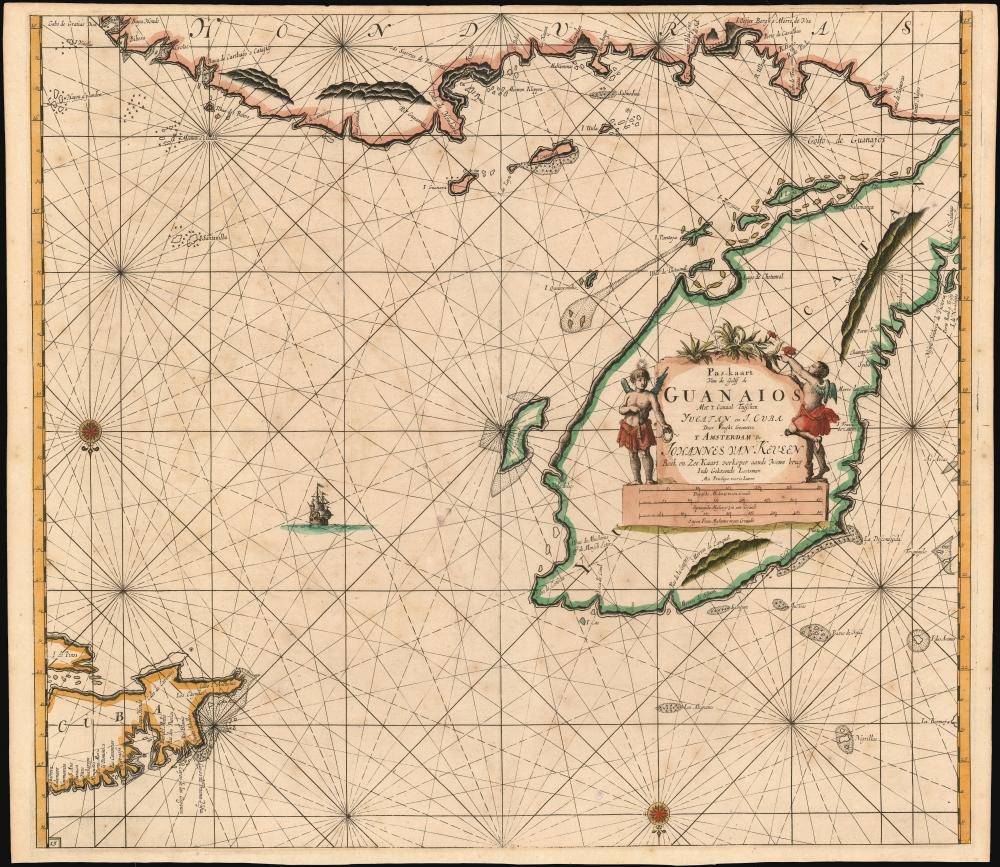 Pas-kaart van de Golff de Guanaios met 't Canaal Tusschen Yucatan en I. Cuba - Main View