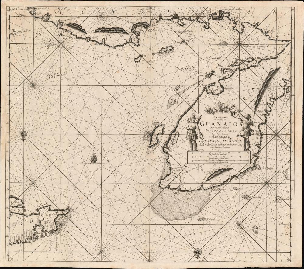 Pas-kaart van de Golff de Guanaios met 't Canaal Tusschen Yucatan en I. Cuba. - Main View
