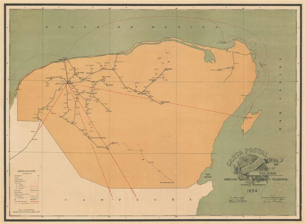Carta Postal de la Republica Mexicana Estado de Yucatan. - Main View